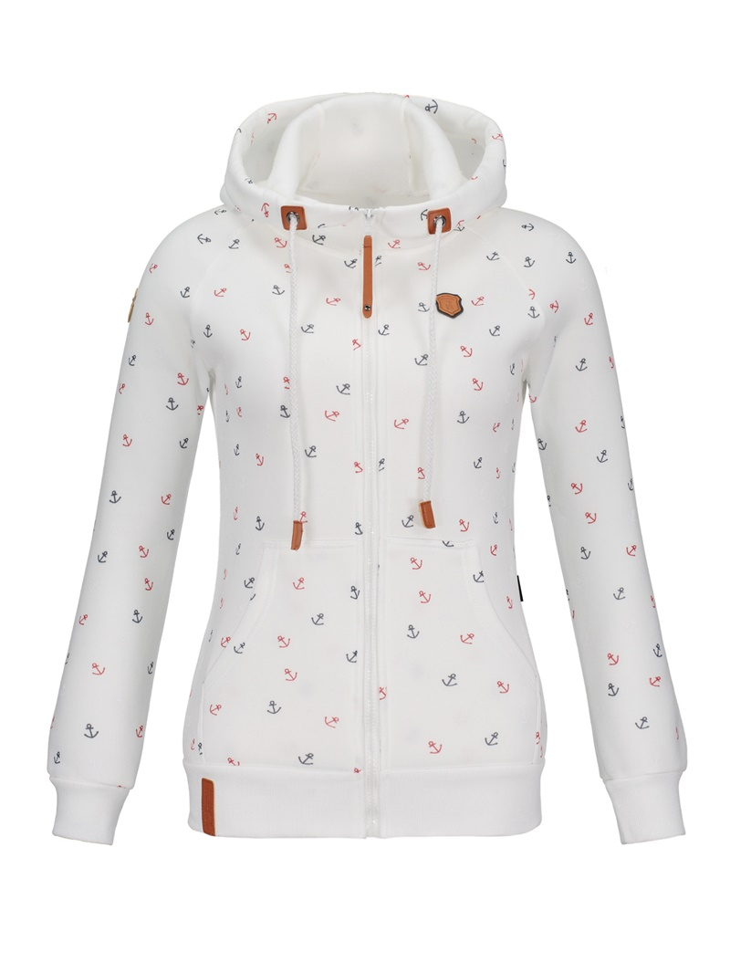 Women's Clothing Hooded Slim Prin Cardigan