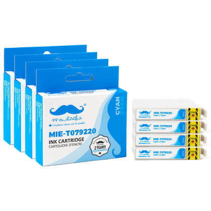 Compatible Epson 79 T079220 Cyan Ink Cartridge High Yield - Moustache@ - 4/Pack