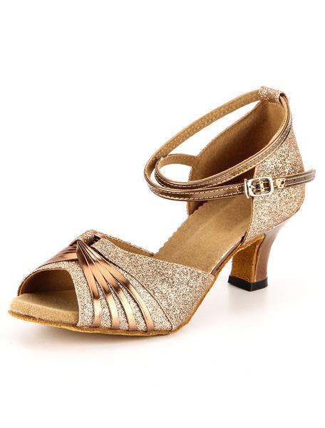 Milanoo Zapatos de bailes latinos de tela-brillantes dorados