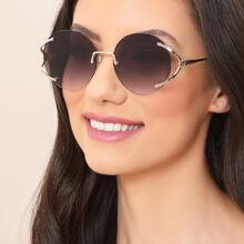 Split Frame GG Detail Round Lens Sunglasses