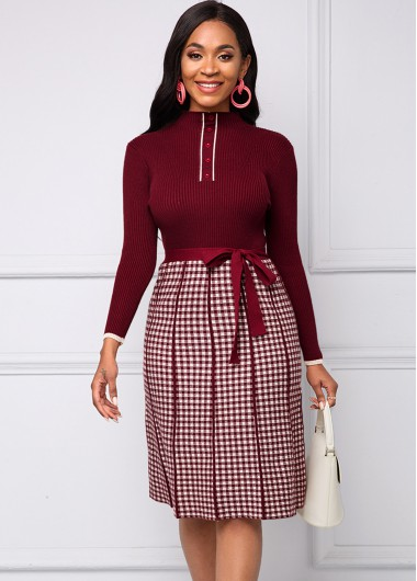Red Dresses Belted Plaid Jacquard Button Sweater Dress - S
