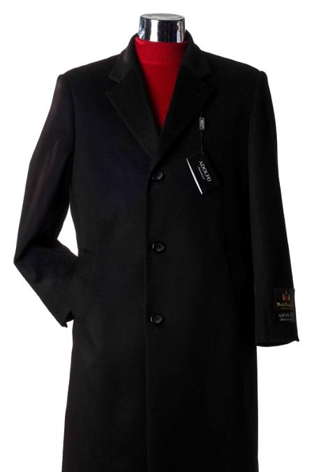 3 Button Charcoal Cashmere Wool Topcoat/Overcoat Mens