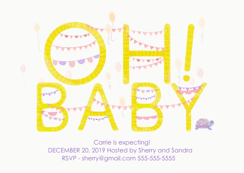 Baby Shower Invitations 5x7 Cards, Premium Cardstock 120lb with Elegant Corners, Card & Stationery -Oh! Baby Balloons Girl
