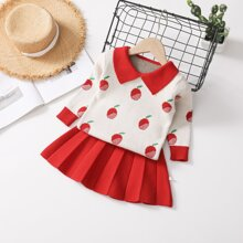 Toddler Girls Apple Pattern Sweater With Knit Pleated Skirt