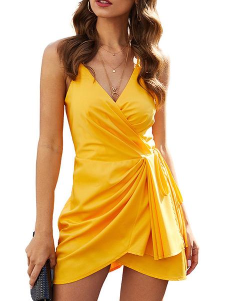 Milanoo Vestido de verano Vestido sin mangas amarillo Vestido sin mangas para mujer