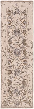 Castille CTL-2012 4 x 6 Rectangle Traditional Rug in Khaki  Dark Brown  Denim  Medium