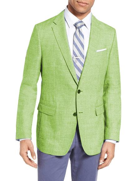 Men's Single Breasted 2 Buttons Wool Linen Apple Green Slim Fit Blazer
