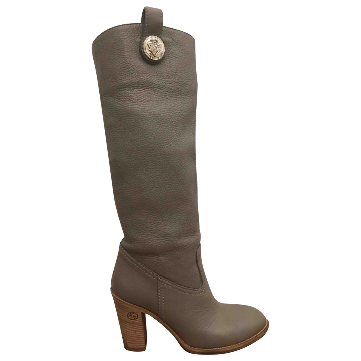 Gucci N Grey Leather Boots for Women 38 IT