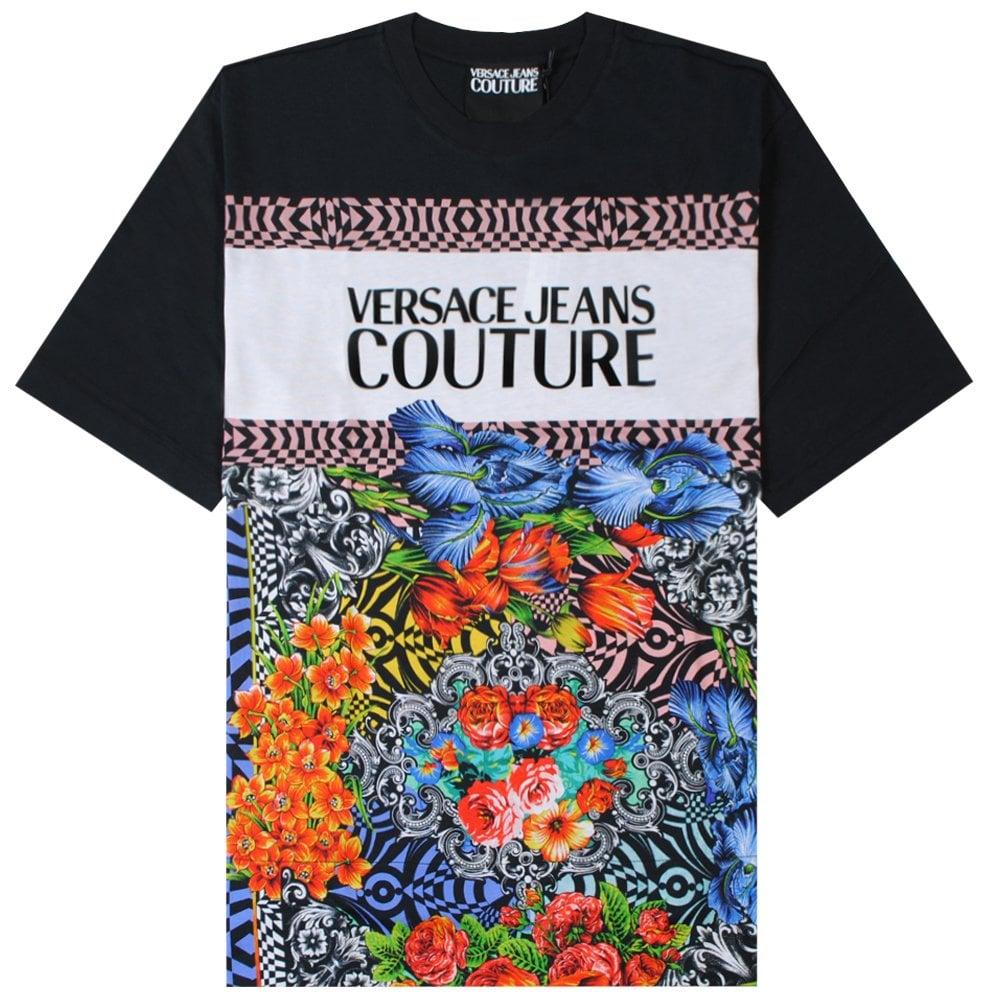 Versace Jeans Couture Floral Logo Print T-Shirt Colour: MULTI COLOURED, Size: SMALL