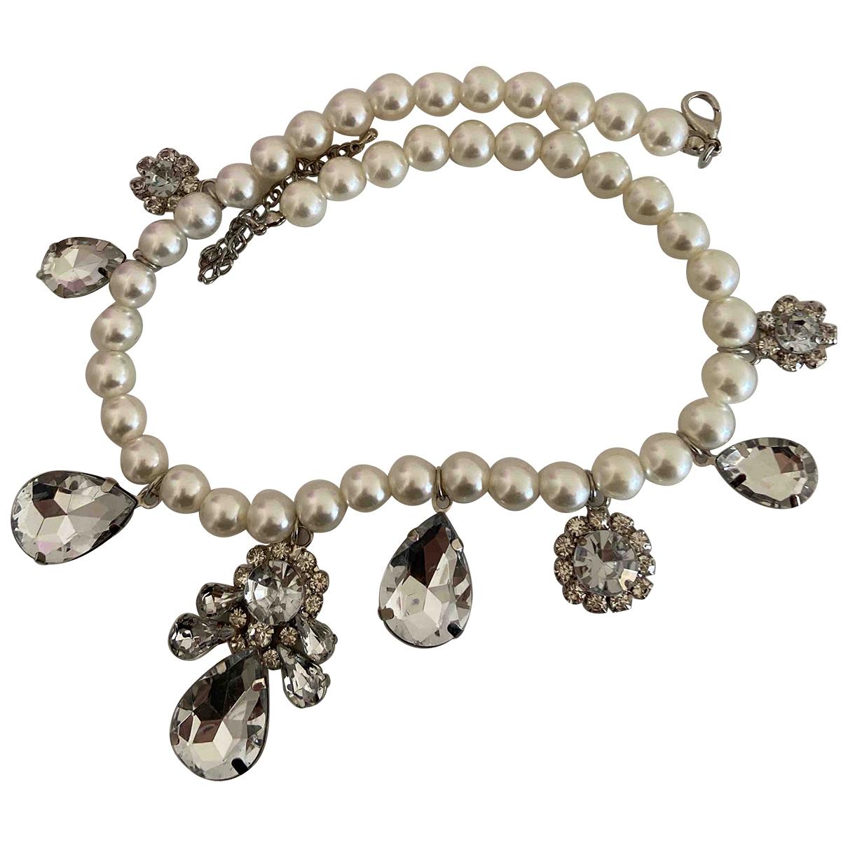 Zara \N Kette in  Weiss Perlen