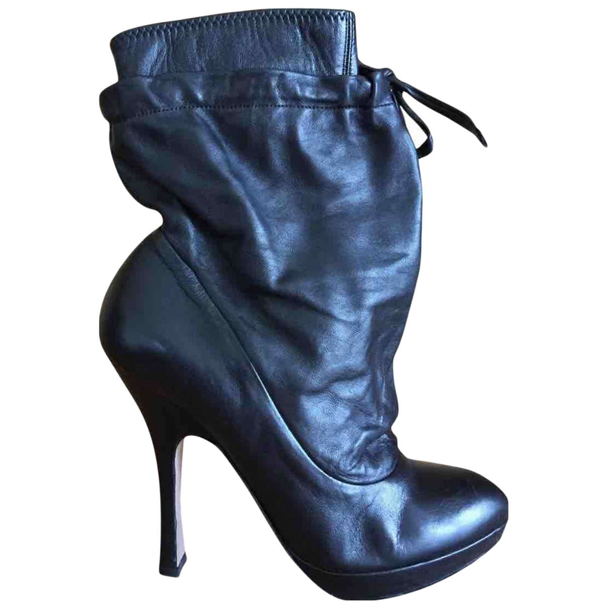 Prada \N Black Leather Ankle boots for Women 36.5 EU