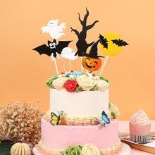 6 Stuecke Tortenaufsatz mit Halloween Muster