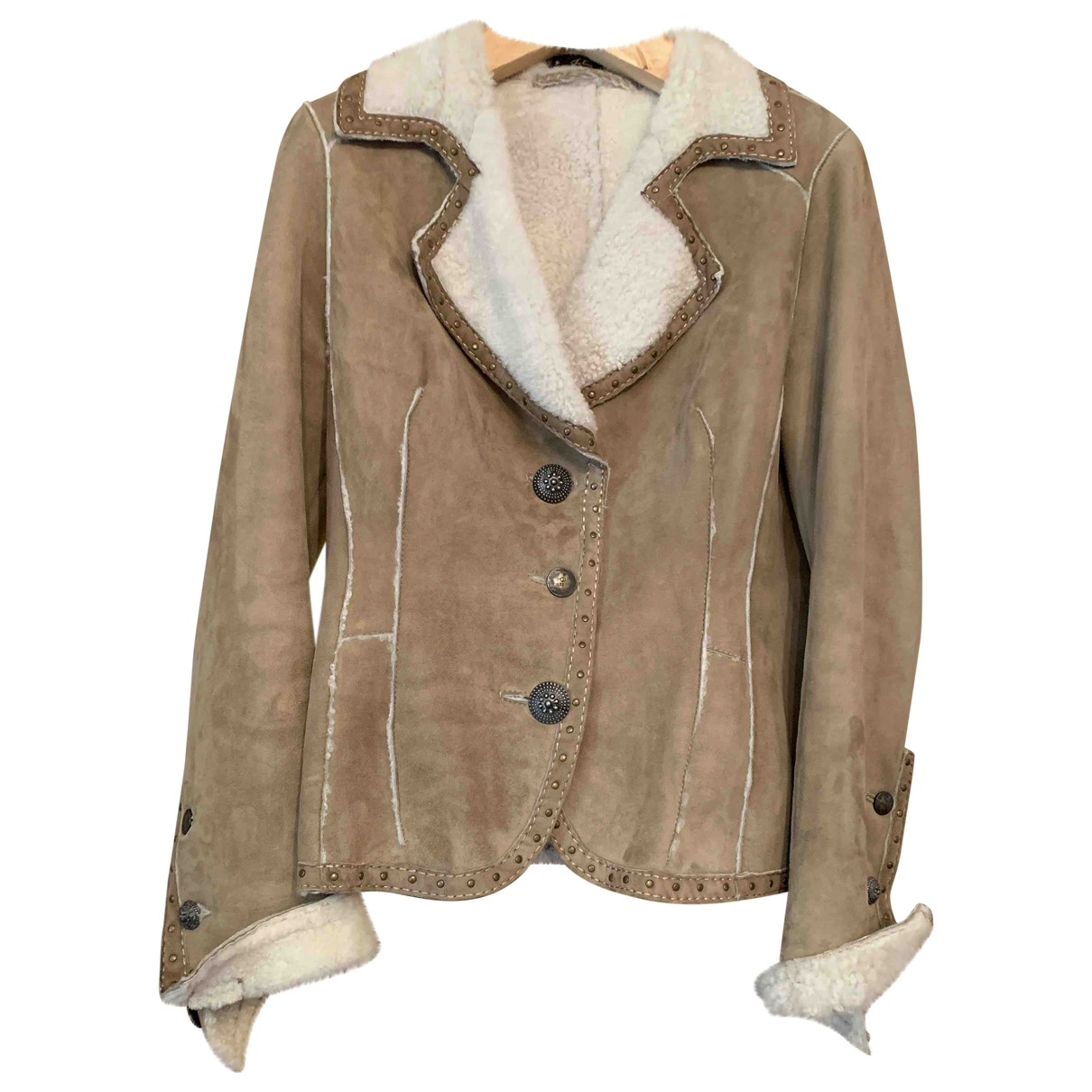 Non Signé / Unsigned \N Suede Leather jacket for Women 46 FR