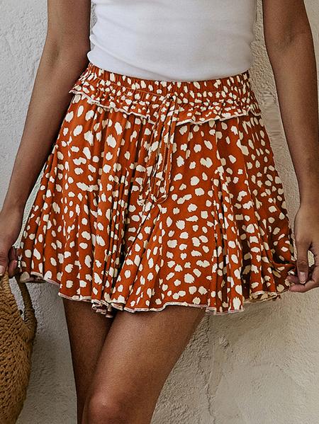 Yoins Ruffle Trim Animal Drawstring Waist Skirt