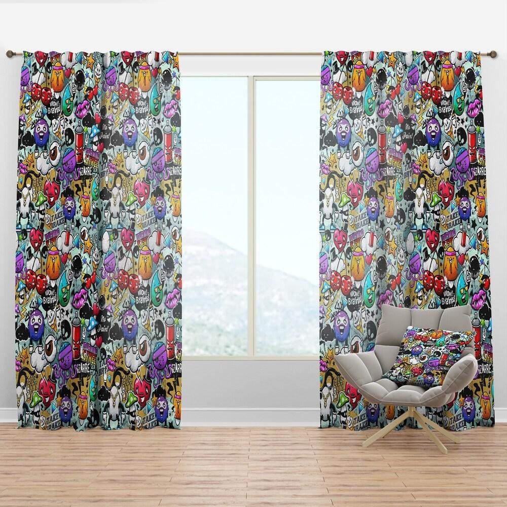 Designart 'Graffiti Texture' Modern Curtain Panel (50 in. wide x 95 in. high - 1 Panel)