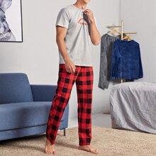 T-Shirt mit Buchstaben Grafik & Hose mit Karo Muster Schlafanzug Set