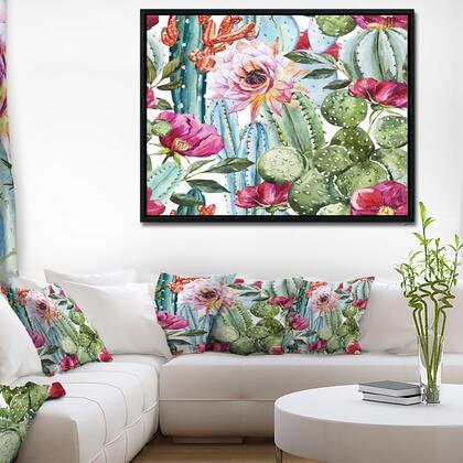 FL7856-42-32-FLB Cactus Pattern Watercolor - Floral Art Framed Canvas Print -