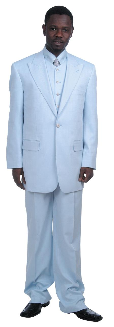 1 Button  Sky Blue Zoot Suit and Vest Mens