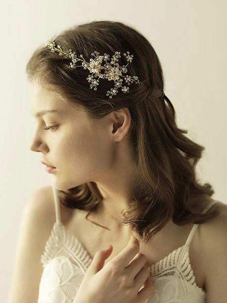 Milanoo Tocado para adultos Fiesta de bodas de metal dorado con adorno para la cabeza