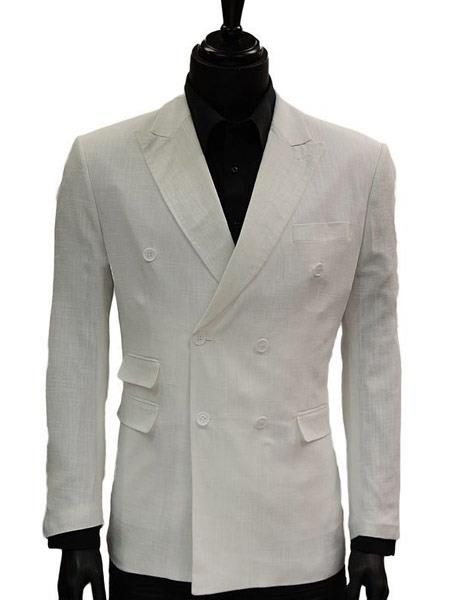 Mens Double Breasted Slim Fit Solid White Dress Casual Jacket Blazer