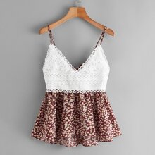 Contrast Lace Ditsy Floral Tie Back Cami Top