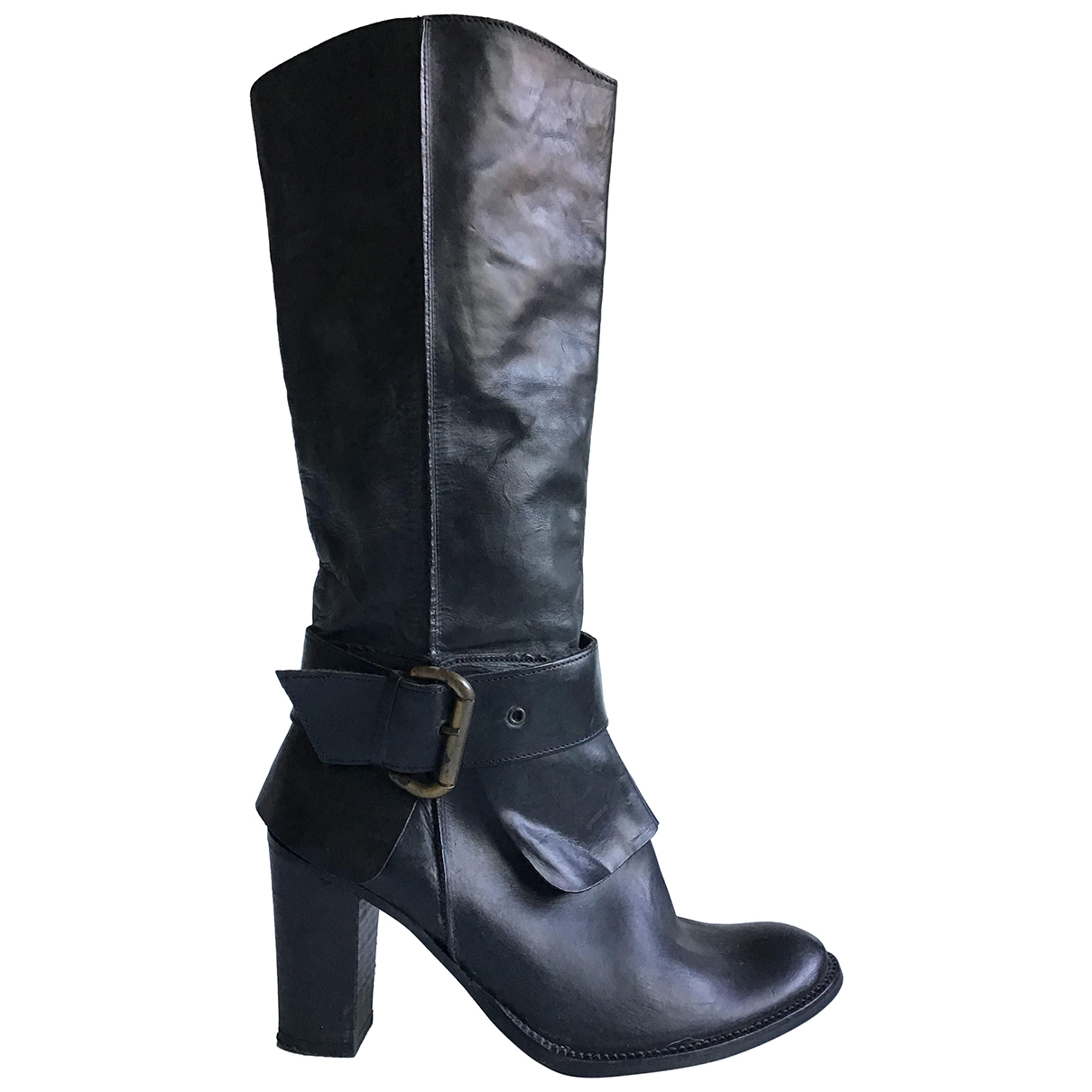 Non Signé / Unsigned \N Black Leather Boots for Women 39 IT