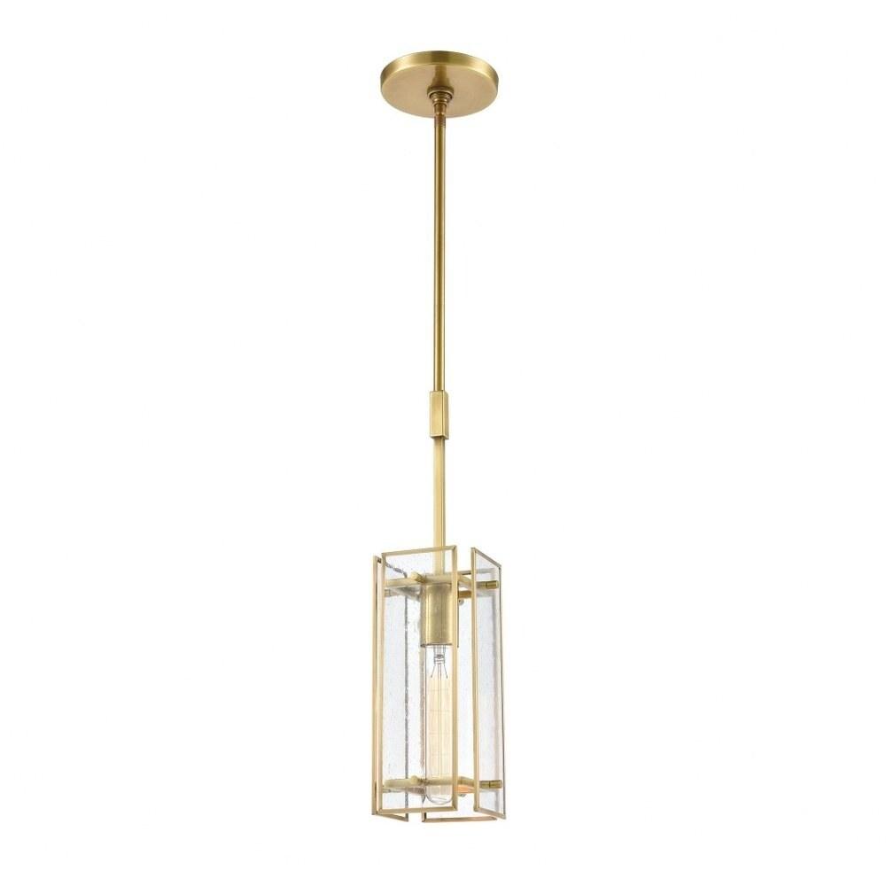 Leigh Grove - One Light Mini Pendant  Satin Brass Finish with Seedy Glass (Satin Brass)