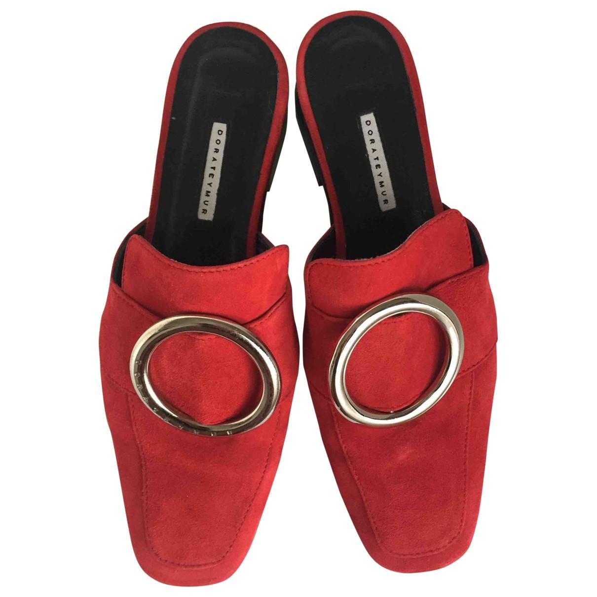 Dorateymur - Sandales   pour femme en cuir - rouge