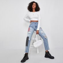 Light Wash Patched Detail Mom Jeans