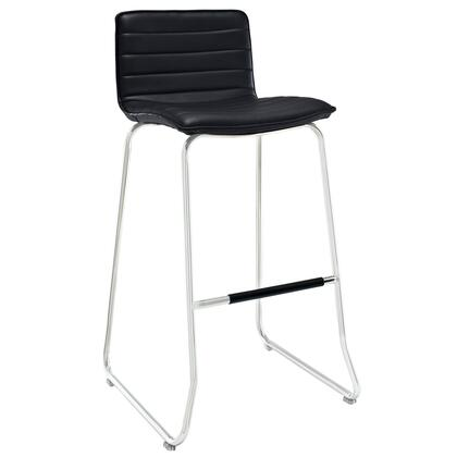 Dive Collection EEI-1030-BLK Bar Stool with Chrome Plated Steel Piston  Crossbar Support  Foam Filled Seat Cushion  Bentwood Frame and Vinyl