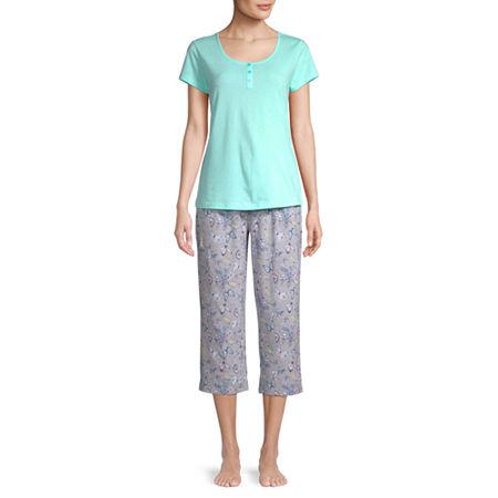 Be Yourself Womens Short Sleeve Round Neck 3-pc. Capri Pajama Set, Small , Blue