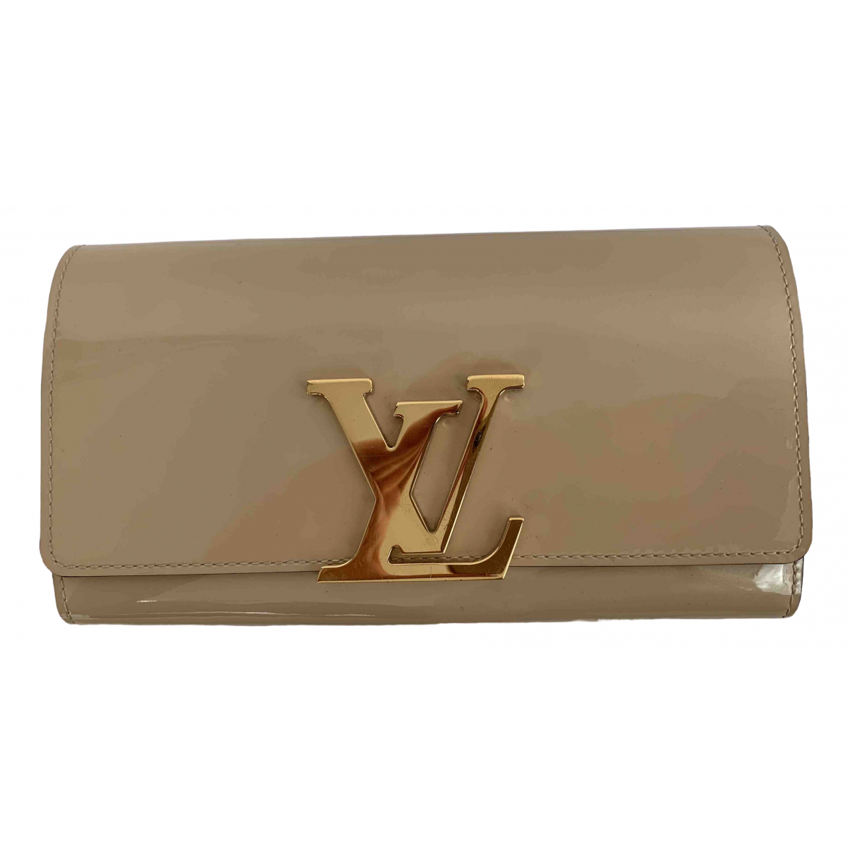 Louis Vuitton - Portefeuille Louise pour femme en cuir verni - beige