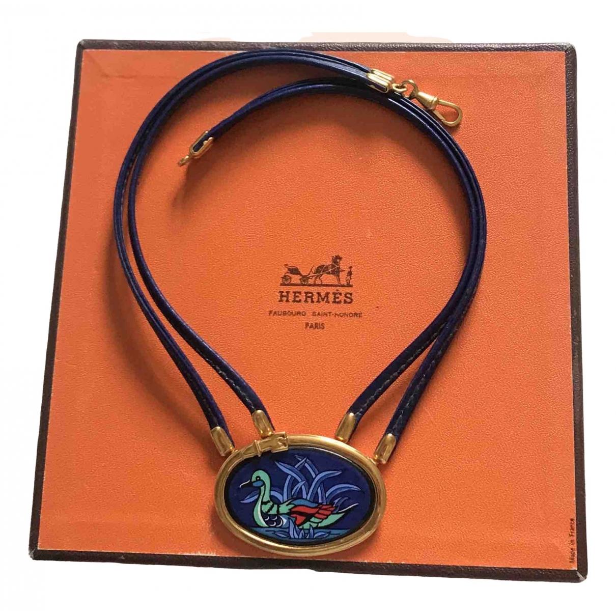 Hermes - Collier   pour femme en cuir - bleu