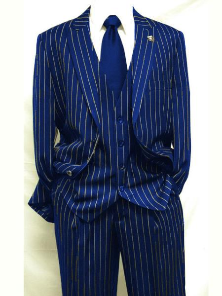 Mens Navy Blue ~ White Gangster Bold PinStripe Suit Pleated pant