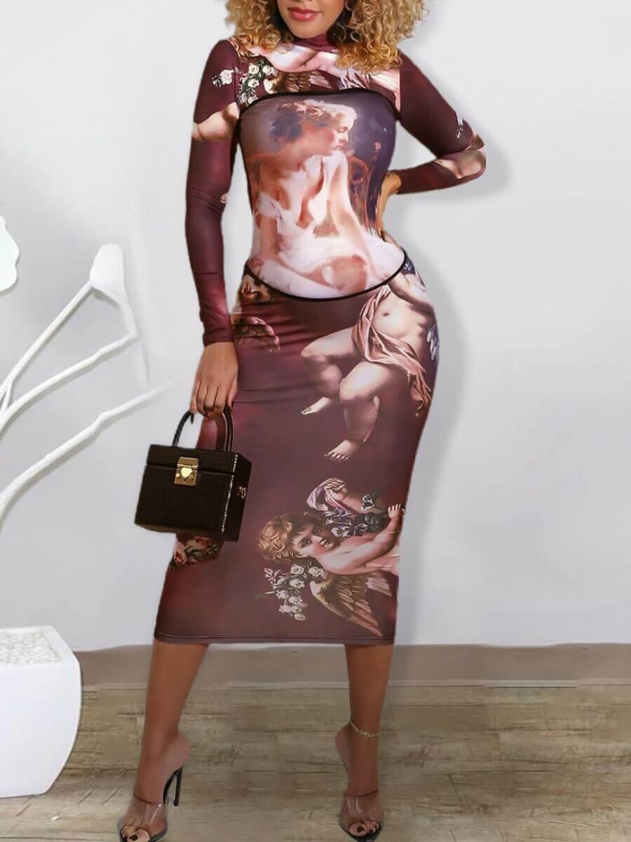 LW Lovely Stylish O Neck Print Patchwork Dark Brown Mid Calf Dress