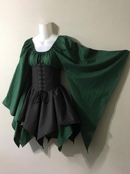 Milanoo Vestido vintage medieval Mangas largas en capas marrones Vestido Halter Swing Vestido de fiesta