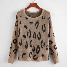 Pullover mit Grafik Muster und Fledermausaermeln