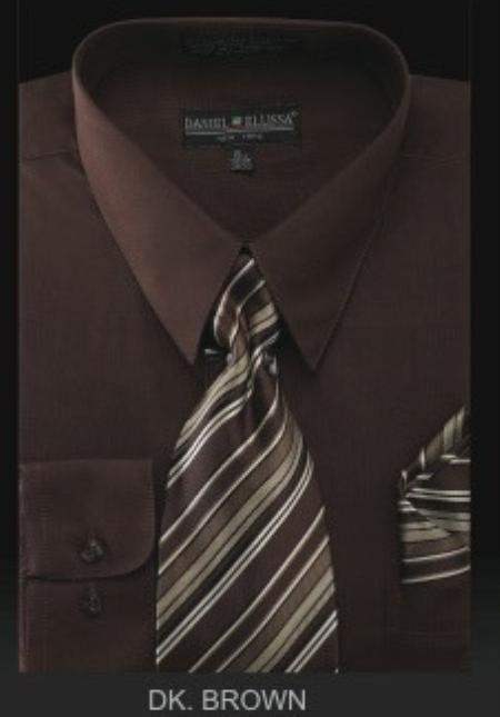 Mens Dress Shirt PREMIUM TIE Dark Brown