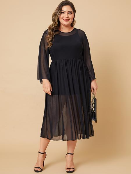 Yoins Plus Size Black Mesh Round Neck Long Sleeves Dress