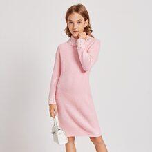 Girls Pearls Beaded Neck and Cuff Rib-knit Sweater Dress