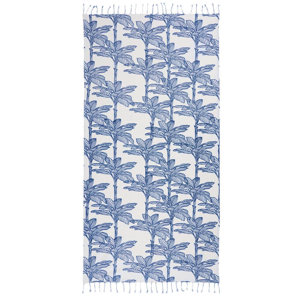 Fouta, weiss und bedruckt mit blauem Laubmotiv 100x200