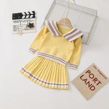 Toddler Girls Sailor Collar Stripe Sweater & Pleated Knit Skirt