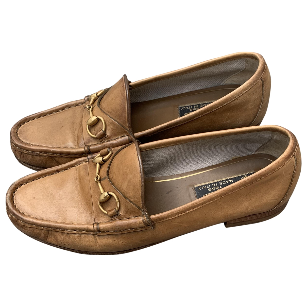 Gucci \N Brown Leather Flats for Women 37 EU