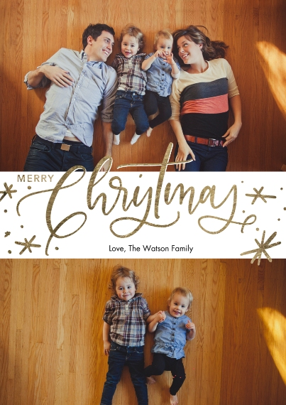 Christmas Photo Cards 5x7 Cards, Premium Cardstock 120lb, Card & Stationery -Christmas Red Script by Tumbalina