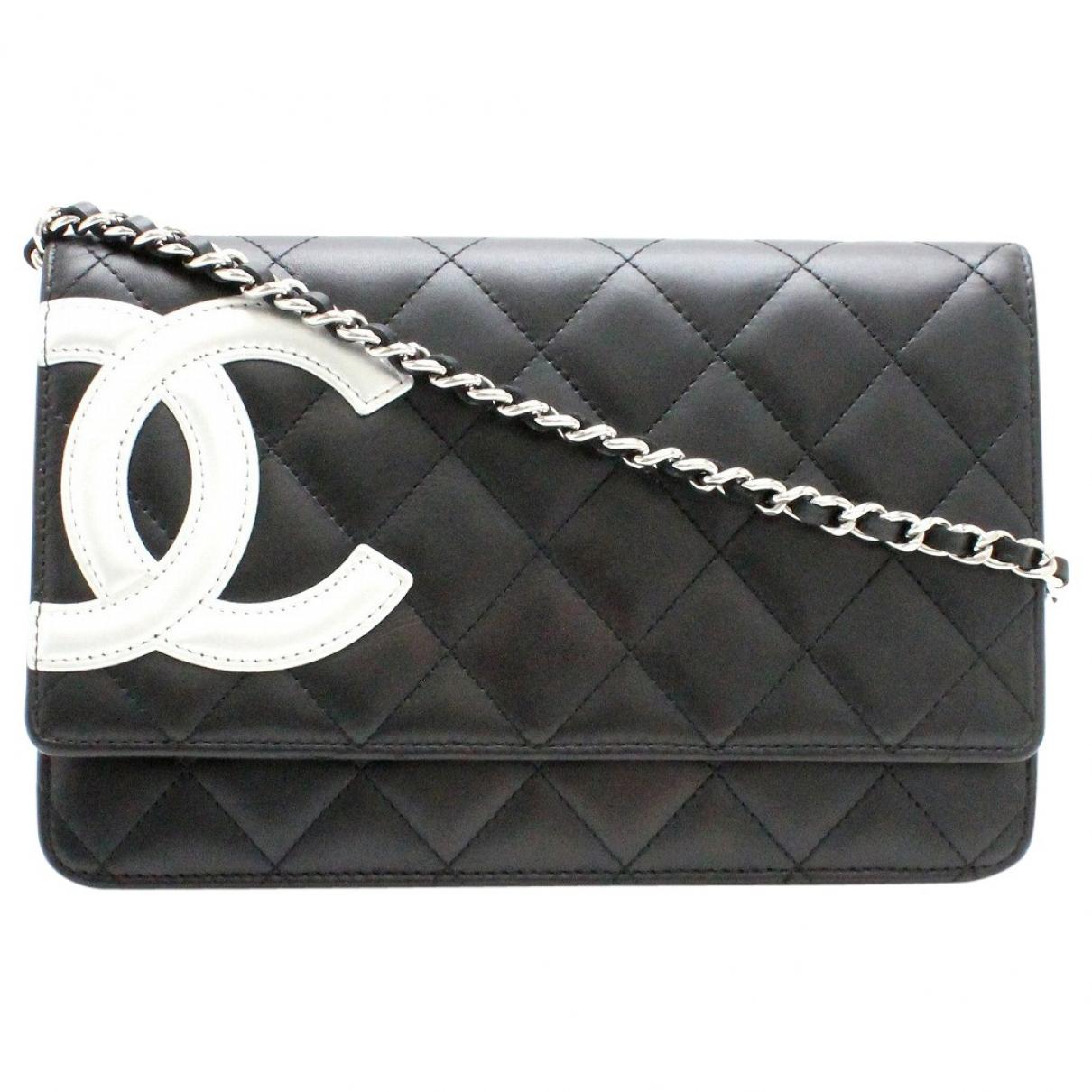 Chanel Cambon Clutch in  Schwarz Leder