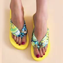 Floral Graphic Flip Flops