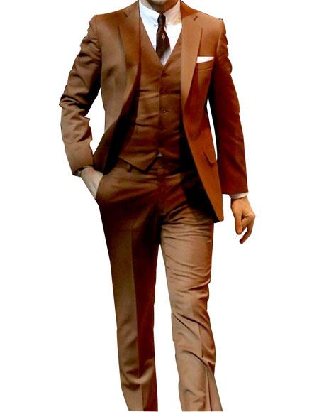 Mens 2 Button Single Breasted Notch Lapel Flap Pockets Camel Suit