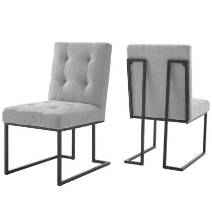 Privy Collection EEI-4153-BLK-LGR Black Stainless Steel Upholstered Fabric Dining Chair Set of 2 in Black Light Gray