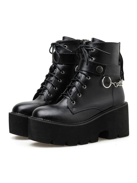 Milanoo Steampunk Lolita Boots PU Leather Round Toe Black Lolita Footwear