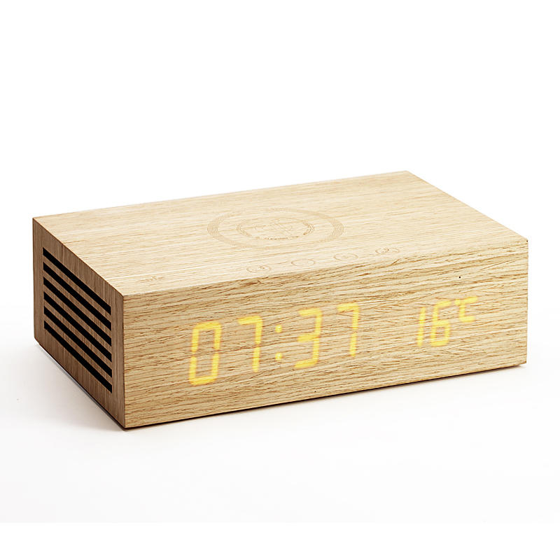Wireless Charging Alarm Clock bluetooth Speaker with Wood Grain Design